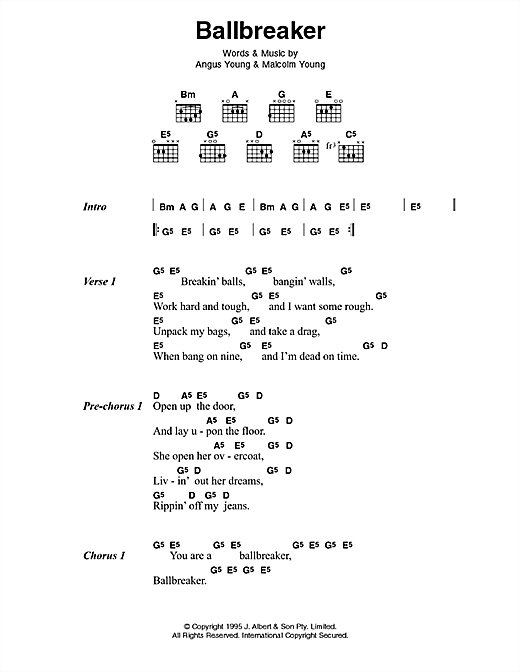 AC/DC Ballbreaker sheet music preview music notes and score for Lyrics & Chords including 3 page(s)