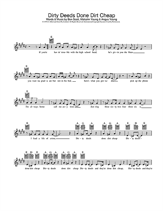 AC/DC Dirty Deeds Done Dirt Cheap sheet music preview music notes and score for Lyrics & Chords including 3 page(s)