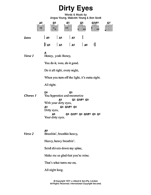 AC/DC Dirty Eyes sheet music preview music notes and score for Lyrics & Chords including 2 page(s)