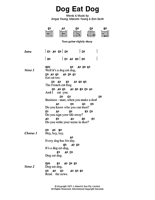 AC/DC Dog Eat Dog sheet music preview music notes and score for Lyrics & Chords including 2 page(s)