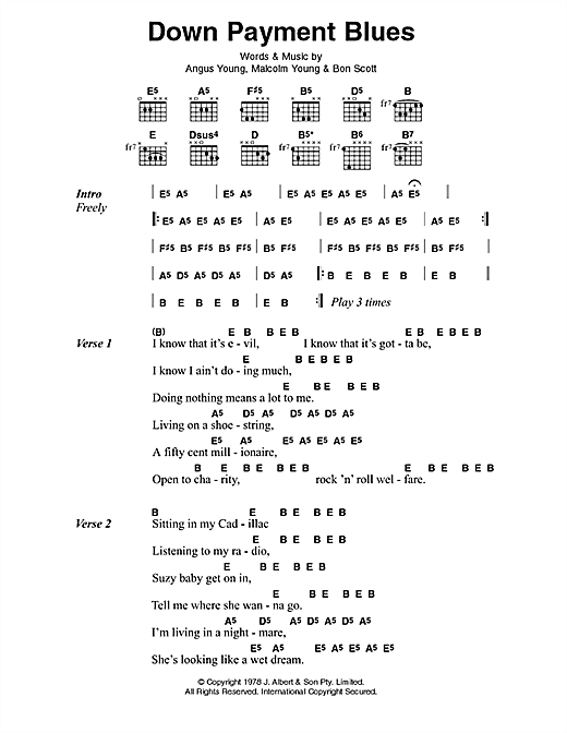 AC/DC Down Payment Blues sheet music preview music notes and score for Lyrics & Chords including 3 page(s)