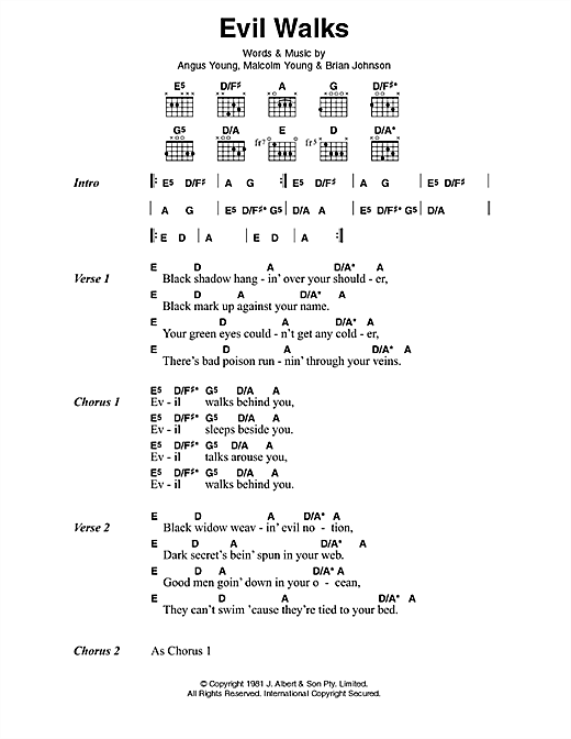 AC/DC Evil Walks sheet music preview music notes and score for Lyrics & Chords including 2 page(s)