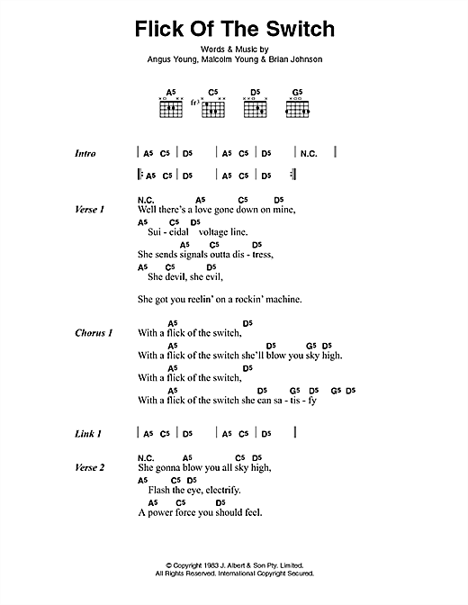 AC/DC Flick Of The Switch sheet music preview music notes and score for Lyrics & Chords including 2 page(s)