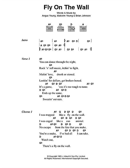 AC/DC Fly On The Wall sheet music preview music notes and score for Lyrics & Chords including 2 page(s)