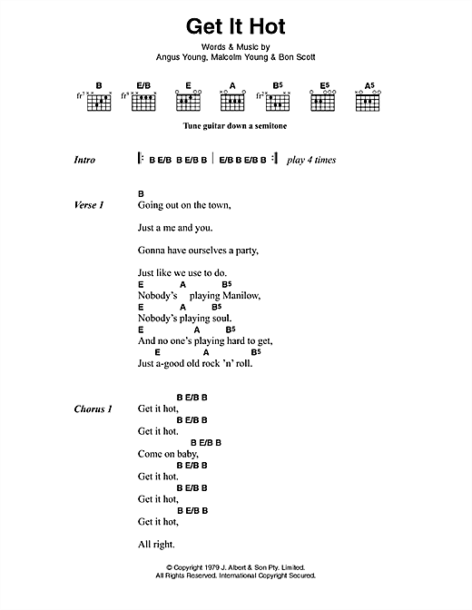 AC/DC Get It Hot sheet music preview music notes and score for Lyrics & Chords including 3 page(s)