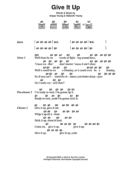 AC/DC Give It Up sheet music preview music notes and score for Lyrics & Chords including 3 page(s)