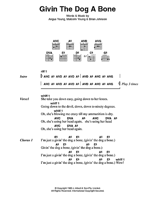 AC/DC Givin' The Dog A Bone sheet music preview music notes and score for Lyrics & Chords including 2 page(s)