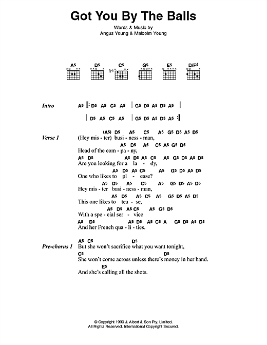 AC/DC Got You By The Balls sheet music preview music notes and score for Lyrics & Chords including 3 page(s)