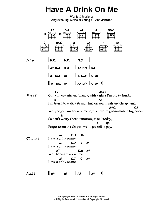 AC/DC Have A Drink On Me sheet music preview music notes and score for Lyrics & Chords including 3 page(s)