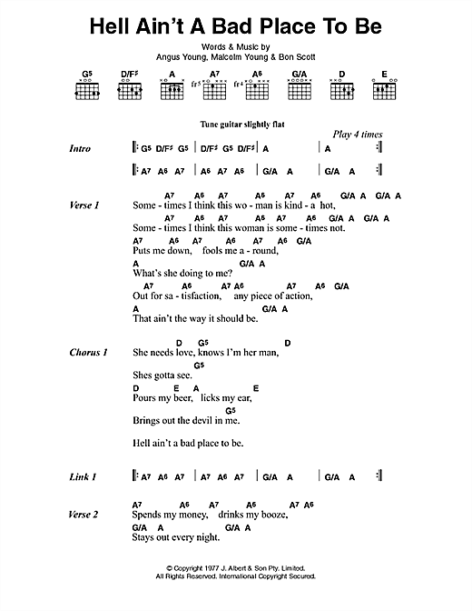 AC/DC Hell Ain't A Bad Place To Be sheet music preview music notes and score for Lyrics & Chords including 2 page(s)