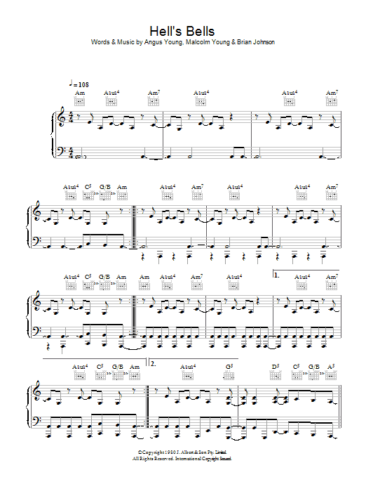 AC/DC Hells Bells sheet music preview music notes and score for Bass Guitar Tab including 7 page(s)