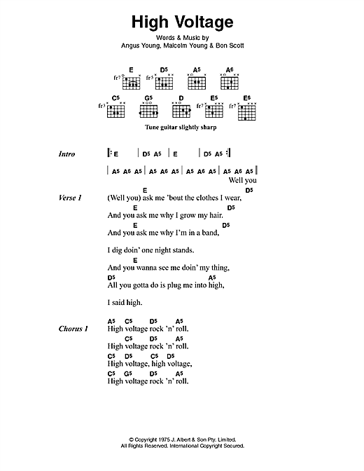 AC/DC High Voltage sheet music preview music notes and score for Lyrics & Chords including 2 page(s)