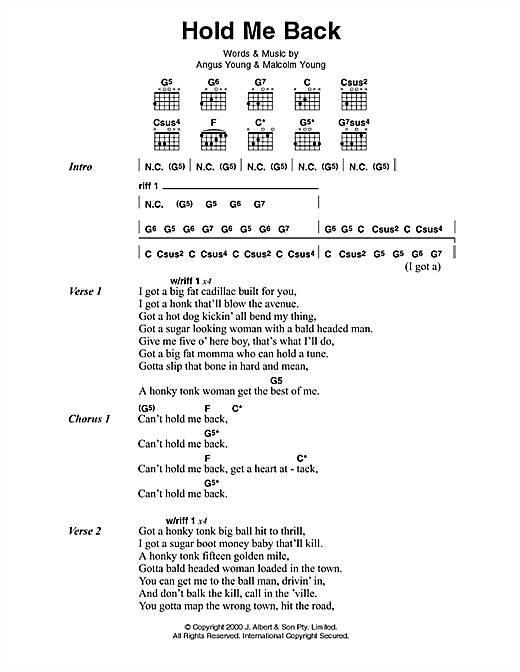 AC/DC Hold Me Back sheet music preview music notes and score for Lyrics & Chords including 2 page(s)