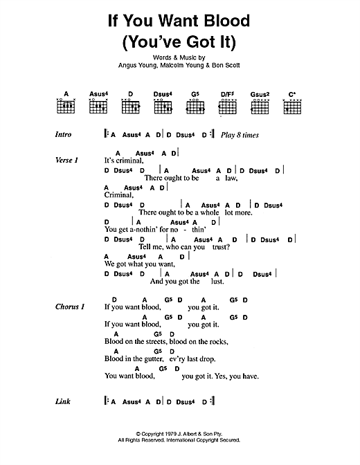 AC/DC If You Want Blood (You've Got It) sheet music preview music notes and score for Lyrics & Chords including 3 page(s)