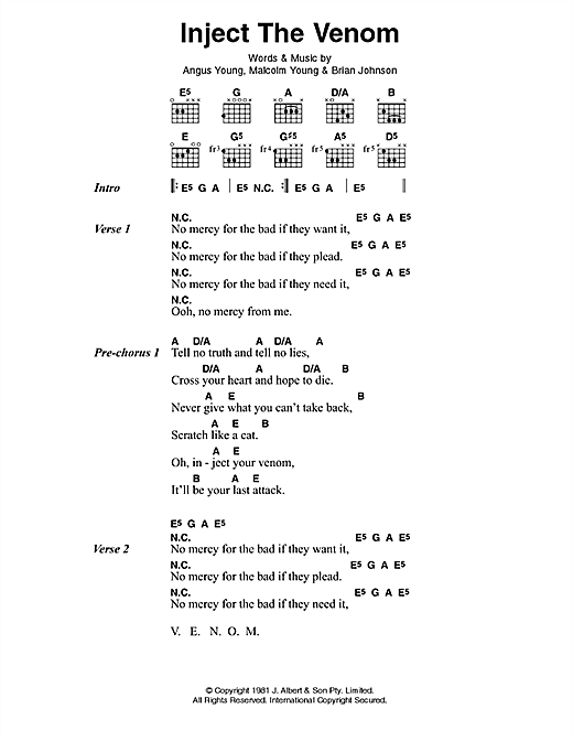 AC/DC Inject The Venom sheet music preview music notes and score for Lyrics & Chords including 2 page(s)