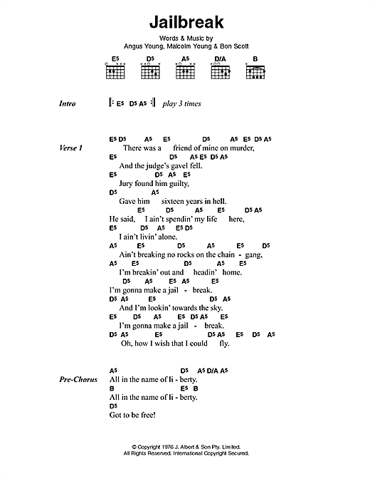 AC/DC Jailbreak sheet music preview music notes and score for Lyrics & Chords including 3 page(s)