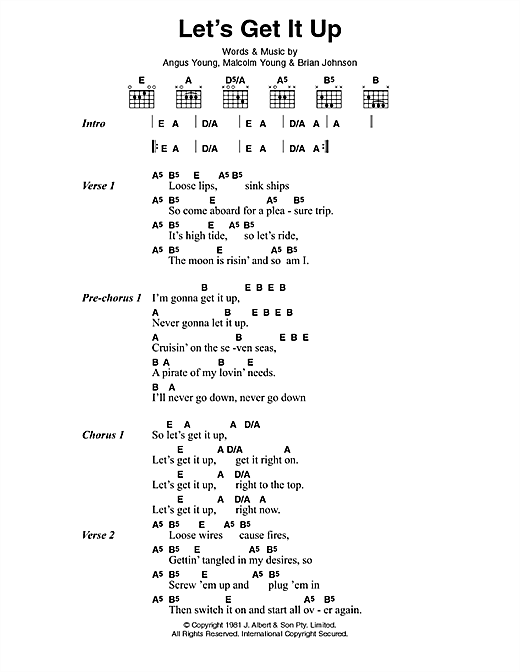 AC/DC Let's Get It Up sheet music preview music notes and score for Lyrics & Chords including 2 page(s)