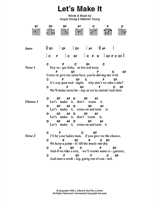 AC/DC Let's Make It sheet music preview music notes and score for Lyrics & Chords including 2 page(s)