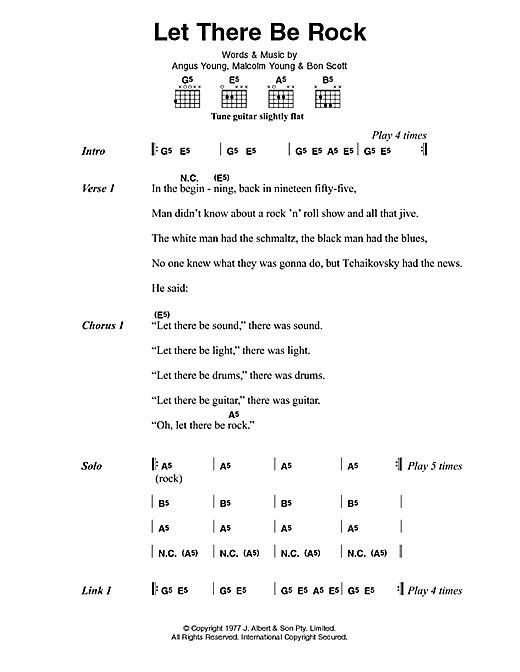 AC/DC Let There Be Rock sheet music preview music notes and score for Lyrics & Chords including 2 page(s)