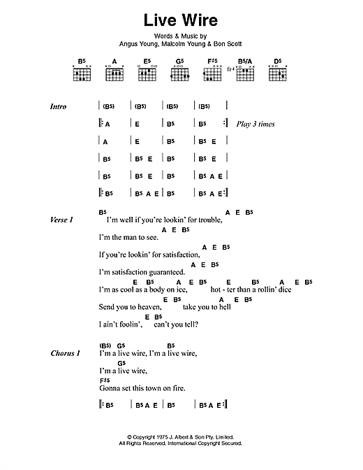 AC/DC Live Wire sheet music preview music notes and score for Lyrics & Chords including 3 page(s)