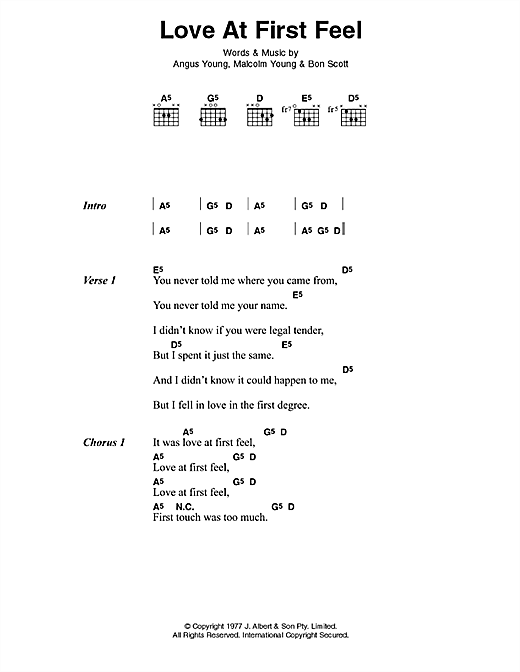 AC/DC Love At First Feel sheet music preview music notes and score for Lyrics & Chords including 2 page(s)