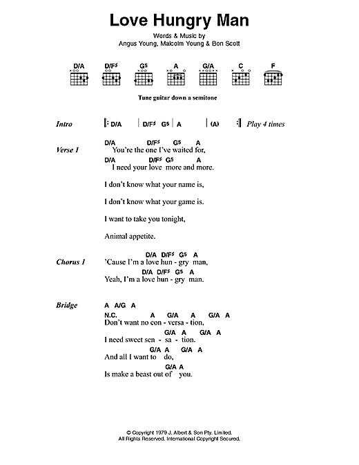 AC/DC Love Hungry Man sheet music preview music notes and score for Lyrics & Chords including 2 page(s)