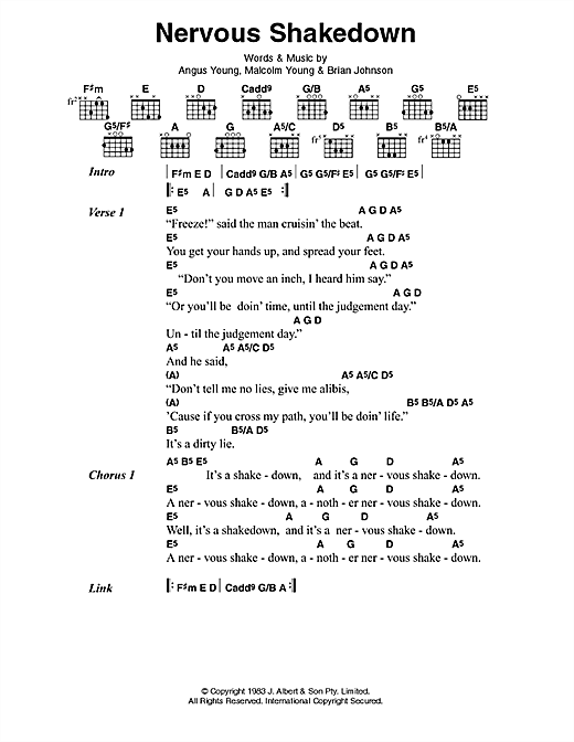 AC/DC Nervous Shakedown sheet music preview music notes and score for Lyrics & Chords including 2 page(s)