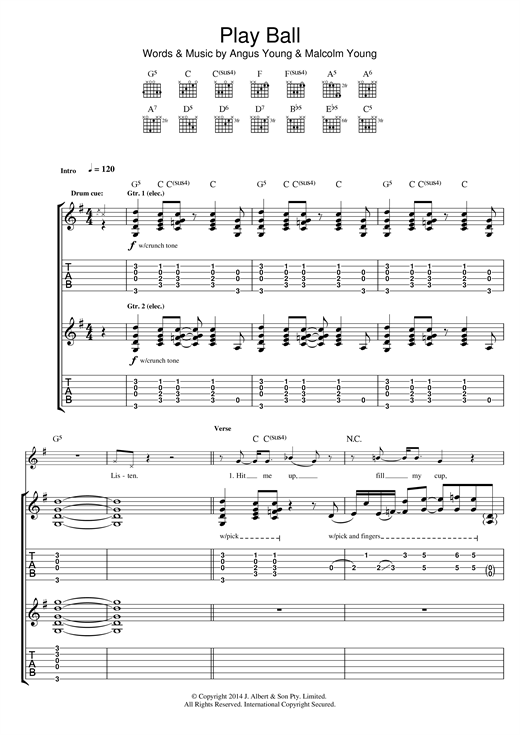 Download AC\DC 'Play Ball' Digital Sheet Music Notes & Chords and start playing in minutes