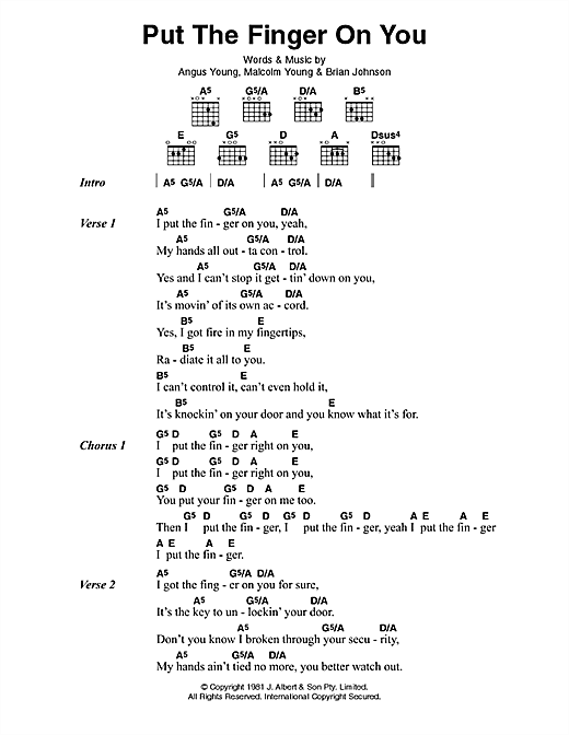 AC/DC Put The Finger On You sheet music preview music notes and score for Lyrics & Chords including 2 page(s)