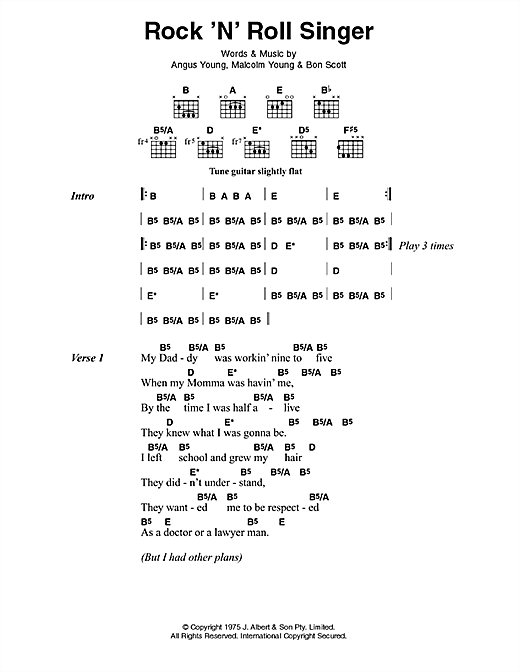 AC/DC Rock 'N' Roll Singer sheet music preview music notes and score for Lyrics & Chords including 3 page(s)