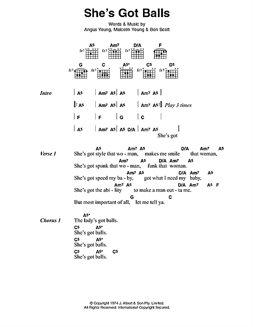 AC/DC She's Got Balls sheet music preview music notes and score for Lyrics & Chords including 2 page(s)