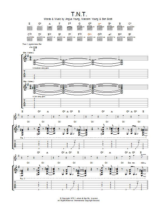 Ac/Dc T.N.T. sheet music preview music notes and score for Lyrics & Chords including 2 page(s)