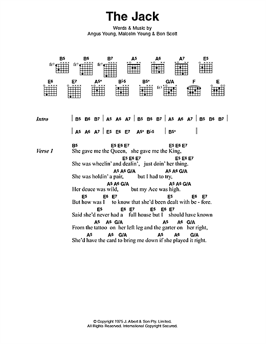 AC/DC The Jack sheet music preview music notes and score for Lyrics & Chords including 3 page(s)