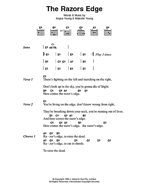 AC/DC The Razor's Edge sheet music preview music notes and score for Lyrics & Chords including 2 page(s)