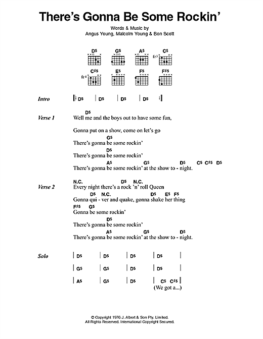 AC/DC There's Gonna Be Some Rockin' sheet music preview music notes and score for Lyrics & Chords including 2 page(s)