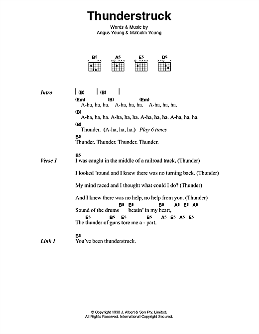 AC/DC Thunderstruck sheet music preview music notes and score for Lyrics & Chords including 3 page(s)