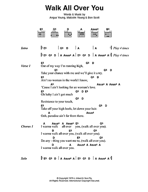 AC/DC Walk All Over You sheet music preview music notes and score for Lyrics & Chords including 2 page(s)