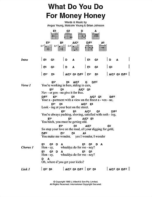 AC/DC What Do You Do For Money, Honey? sheet music preview music notes and score for Lyrics & Chords including 2 page(s)