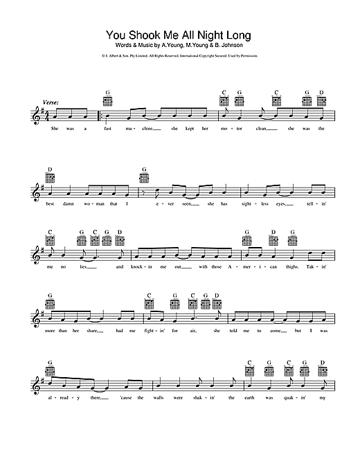 AC/DC You Shook Me All Night Long sheet music preview music notes and score for Lyrics & Chords including 3 page(s)
