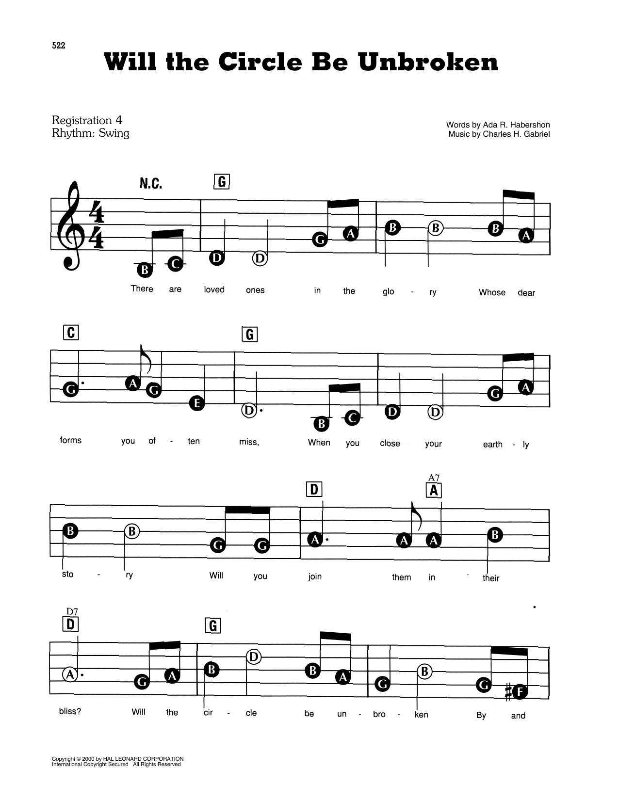 Download Ada R. Habershon and Charles H. Gabriel 'Will The Circle Be Unbroken' Digital Sheet Music Notes & Chords and start playing in minutes
