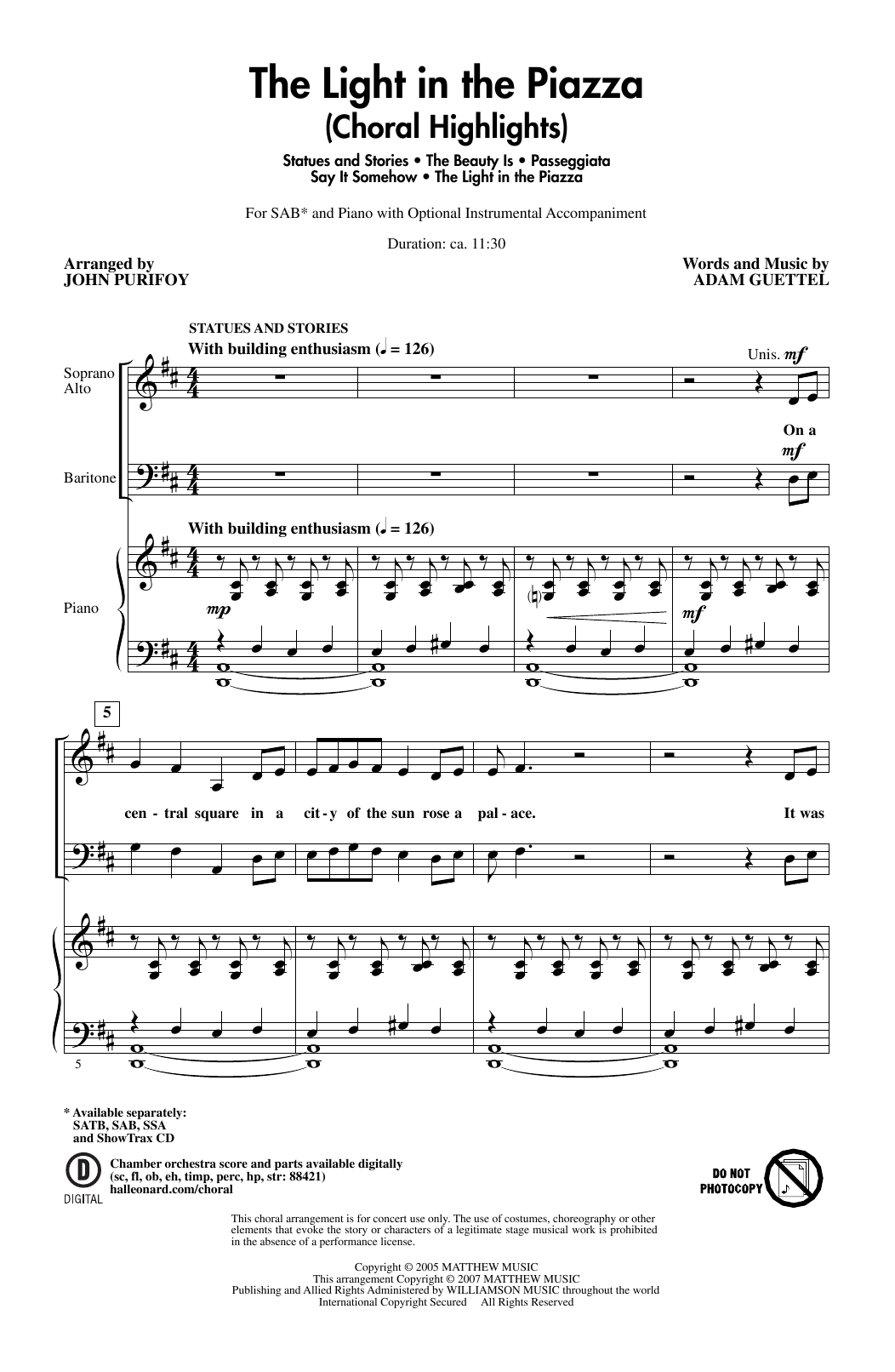 Download Adam Guettel 'The Light In The Piazza (Choral Highlights) (arr. John Purifoy)' Digital Sheet Music Notes & Chords and start playing in minutes