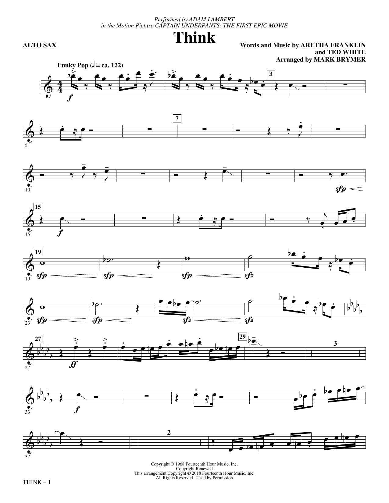 Download Adam Lambert 'Think (from Captain Underpants: The First Epic Movie) (Arr. Mark Brymer) - Alto Sax' Digital Sheet Music Notes & Chords and start playing in minutes