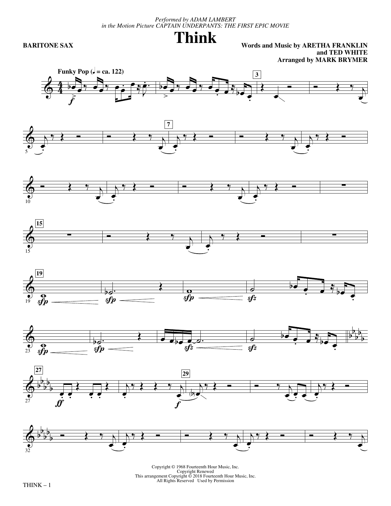 Adam Lambert Think (from Captain Underpants: The First Epic Movie) (Arr. Mark Brymer) - Baritone Sax sheet music preview music notes and score for Choir Instrumental Pak including 2 page(s)