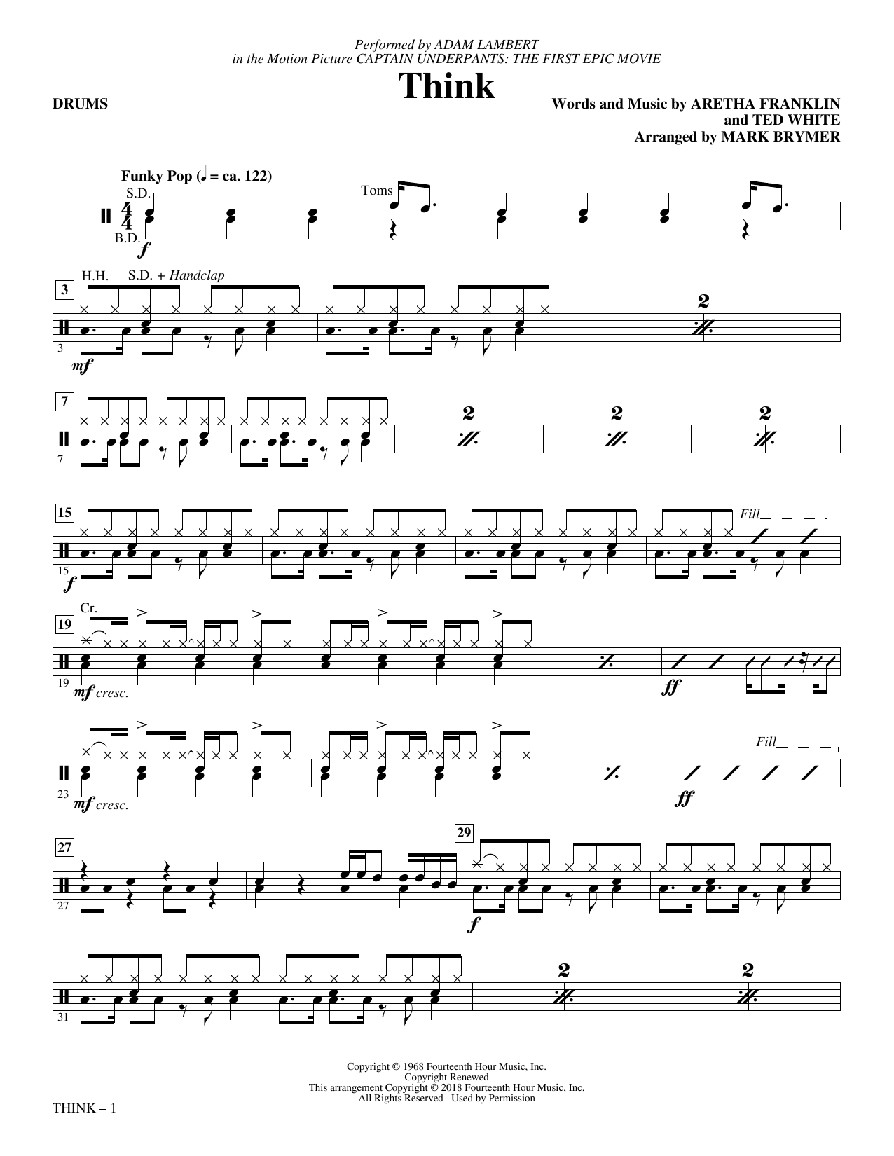 Download Adam Lambert 'Think (from Captain Underpants: The First Epic Movie) (Arr. Mark Brymer) - Drums' Digital Sheet Music Notes & Chords and start playing in minutes