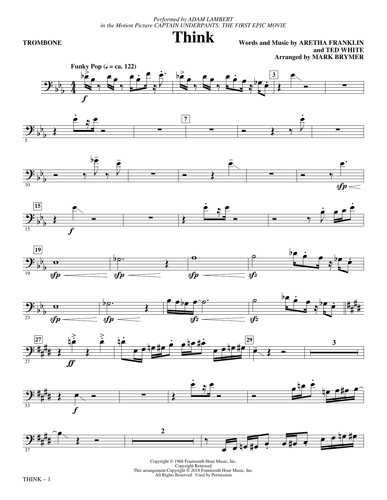 Download Adam Lambert 'Think (from Captain Underpants: The First Epic Movie) (Arr. Mark Brymer) - Trombone' Digital Sheet Music Notes & Chords and start playing in minutes