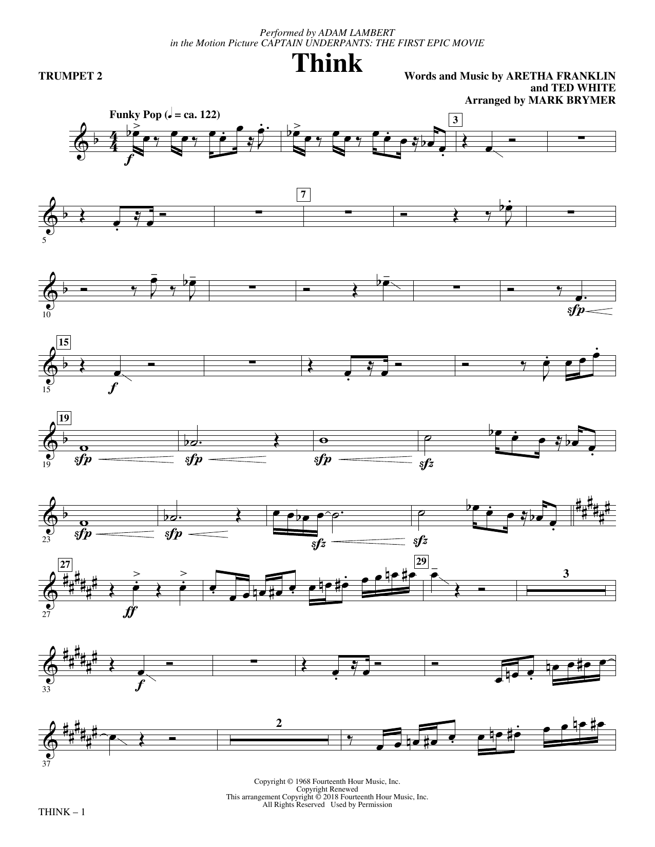 Adam Lambert Think (from Captain Underpants: The First Epic Movie) (Arr. Mark Brymer) - Trumpet 2 sheet music preview music notes and score for Choir Instrumental Pak including 2 page(s)