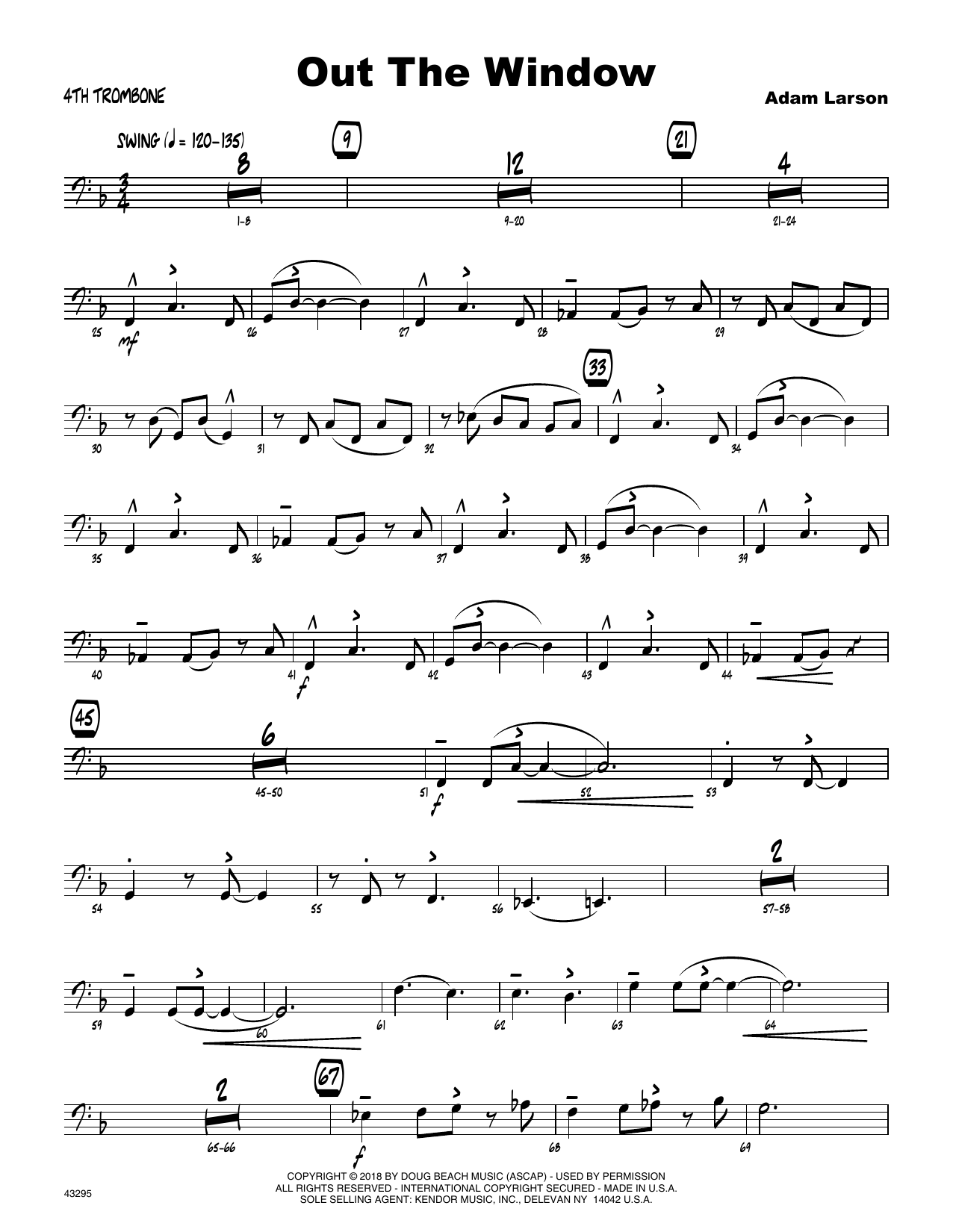 Adam Larson Out The Window - 4th Trombone sheet music preview music notes and score for Jazz Ensemble including 3 page(s)