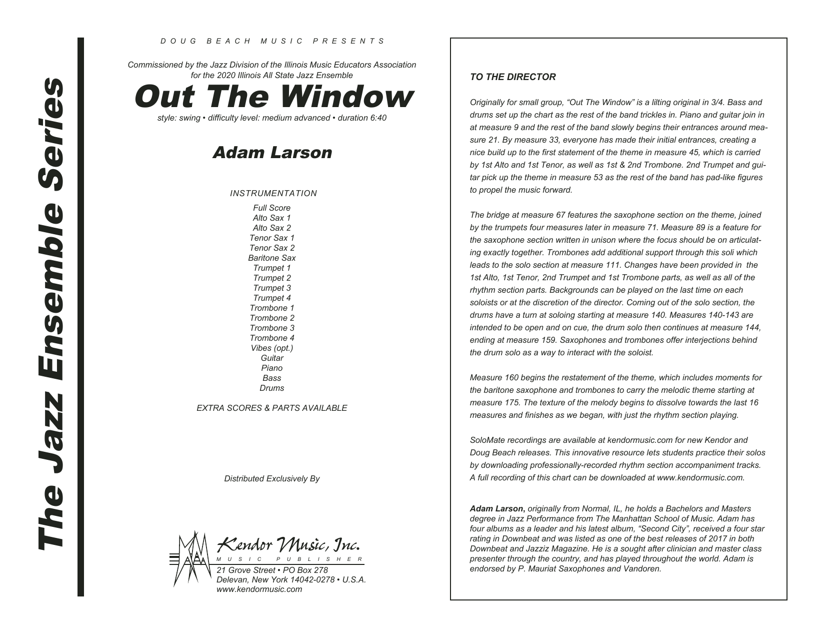 Adam Larson Out The Window - Full Score sheet music preview music notes and score for Jazz Ensemble including 28 page(s)
