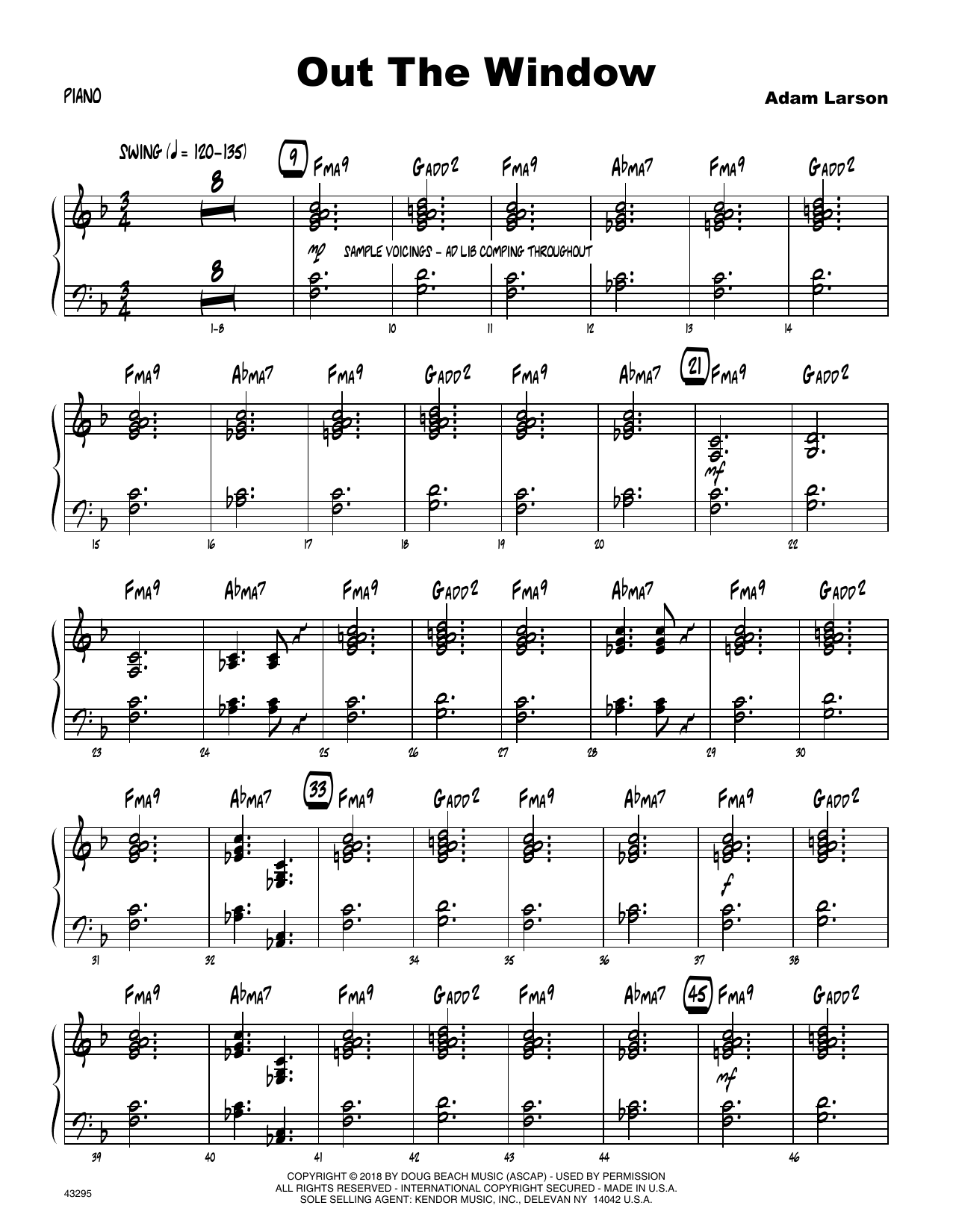 Adam Larson Out The Window - Piano sheet music preview music notes and score for Jazz Ensemble including 6 page(s)