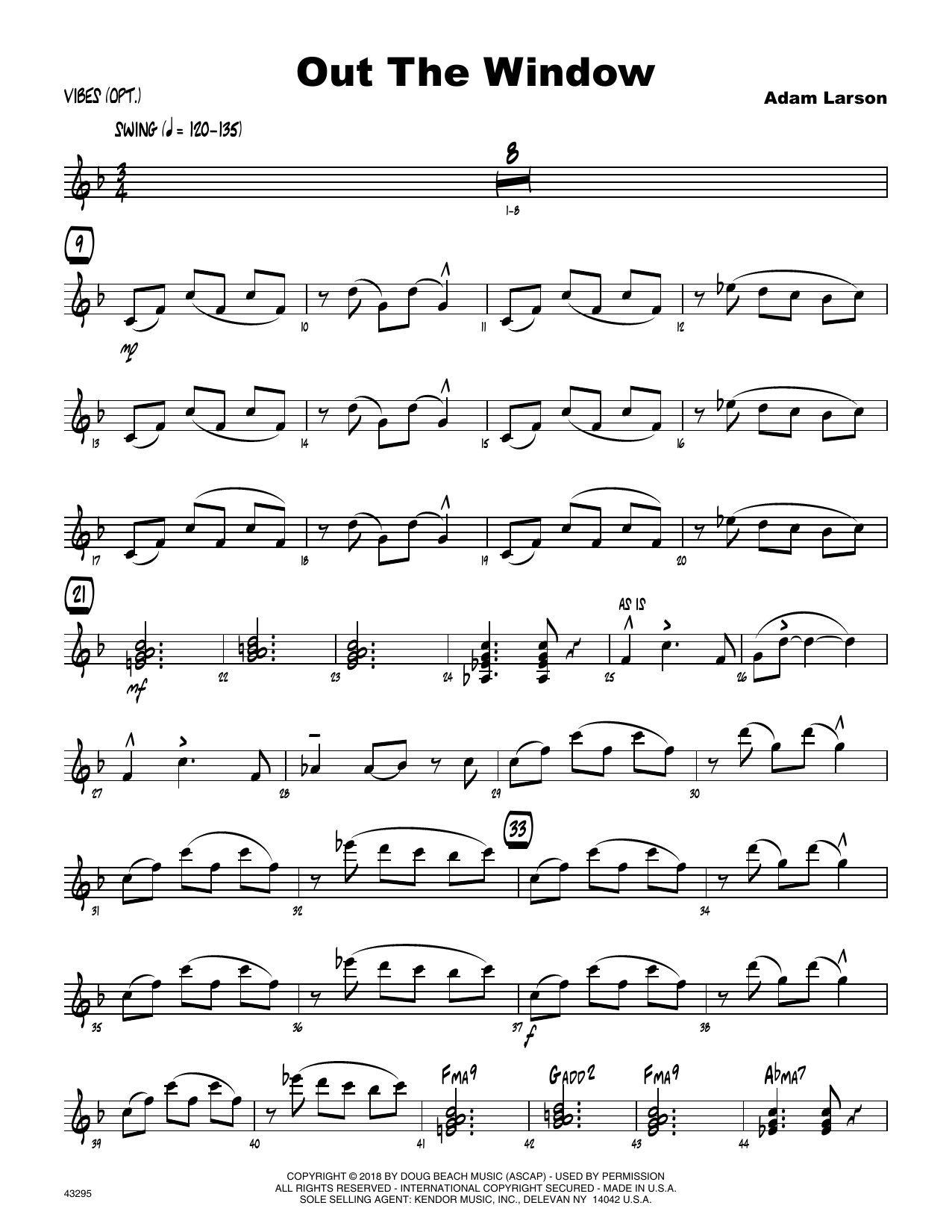 Adam Larson Out The Window - Vibes sheet music preview music notes and score for Jazz Ensemble including 4 page(s)